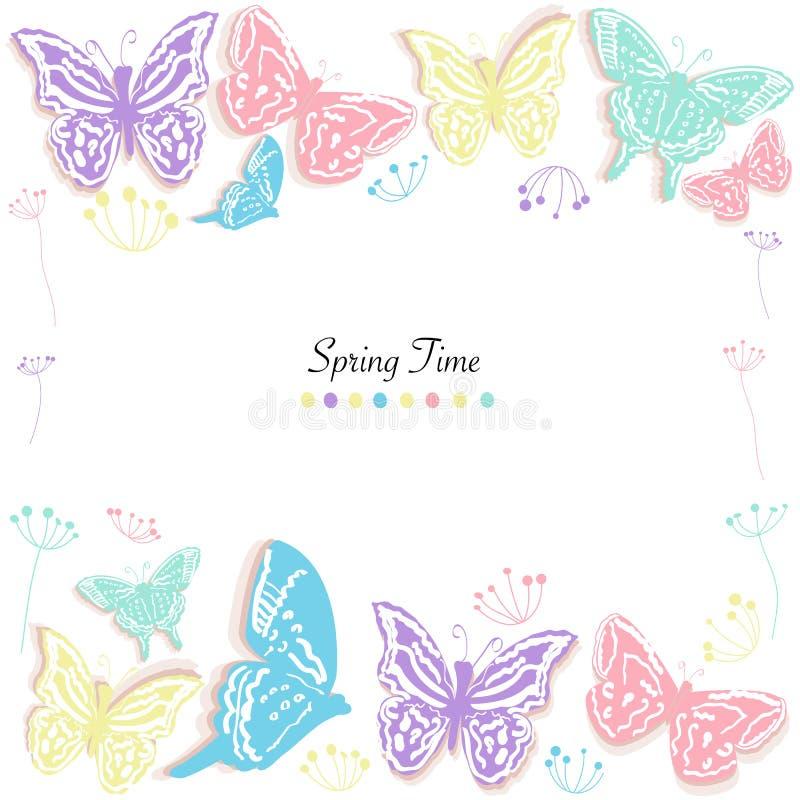 Las mariposas diseñan y resumen el fondo del vector de la tarjeta de felicitación del tiempo de primavera de las flores ilustración del vector