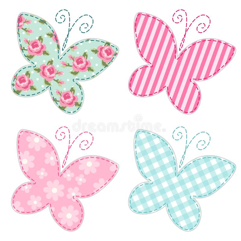 Las mariposas retras primitivas lindas como remiendo de la materia textil applique stock de ilustración