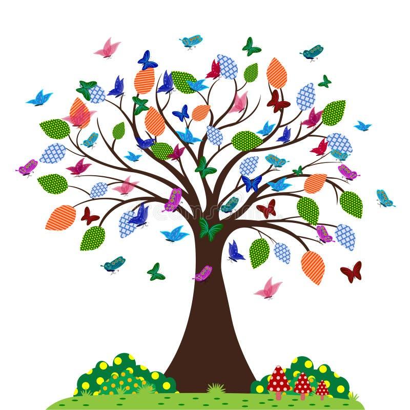 Las mariposas vuelan alrededor del árbol libre illustration