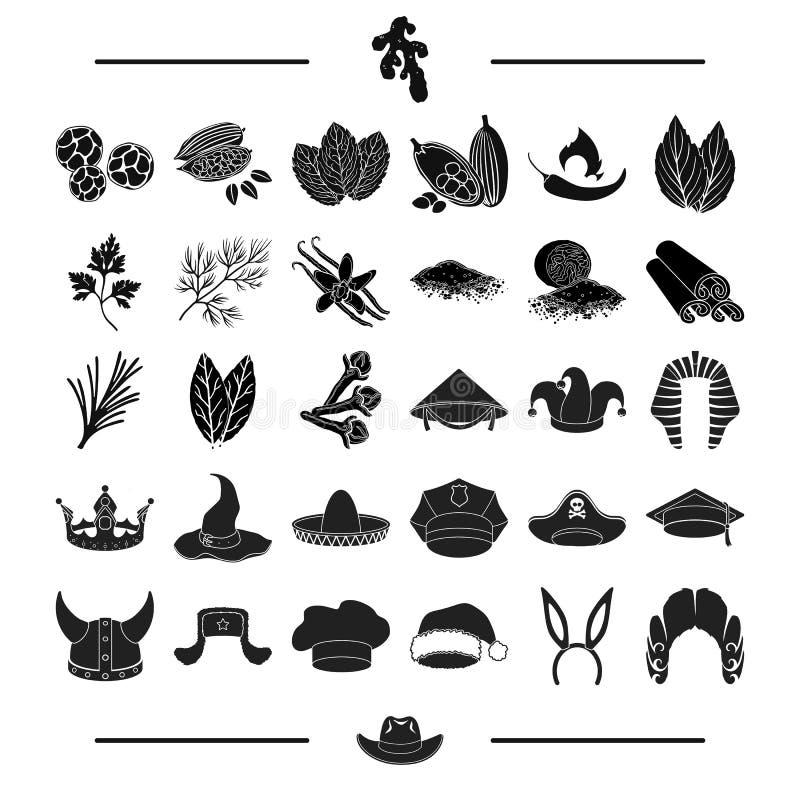 Las materias textiles, la adaptación, la historia y el otro icono del web en estilo negro profesor, plantas, iconos de los condim stock de ilustración
