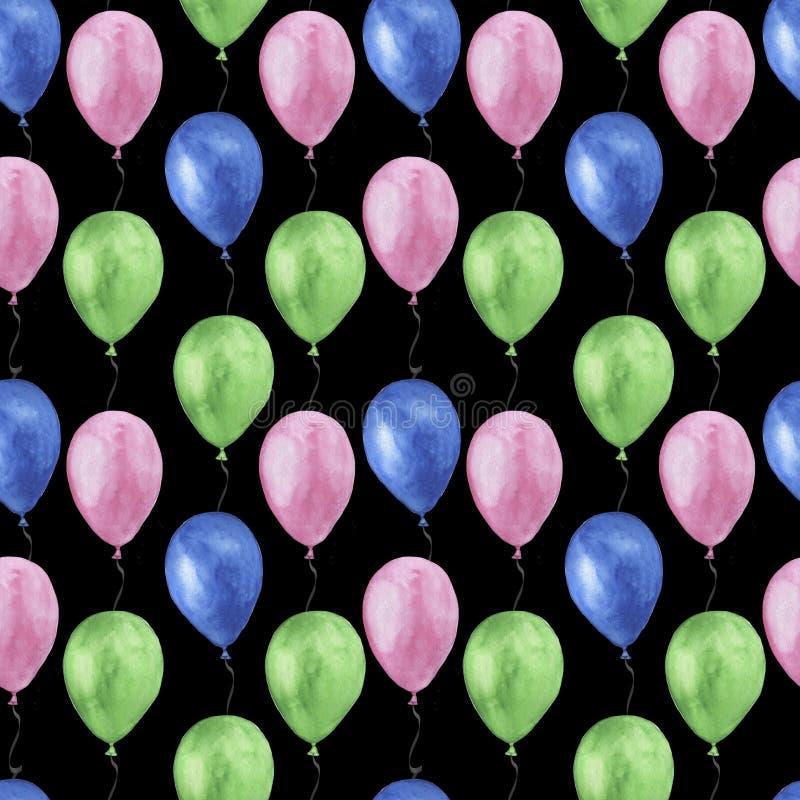 Las materias textiles scrapbooking de papel digitales coloreadas multicoloras de la acuarela de los globos inconsútiles del model stock de ilustración