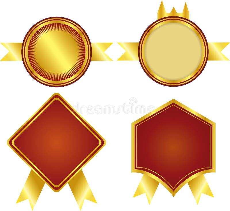 Las Medallas De Oro Y Fijaron Un Marco Ilustración del Vector ...