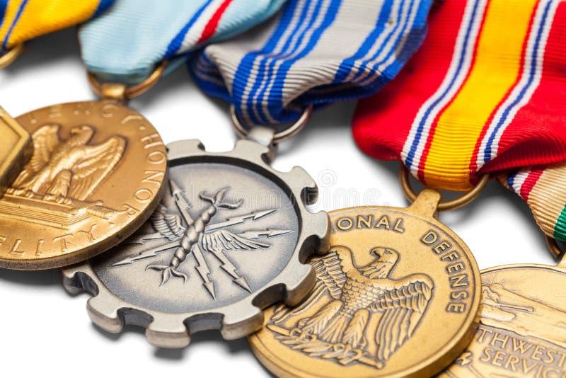 Las medallas militares de los E.E.U.U. se cierran para arriba foto de archivo libre de regalías