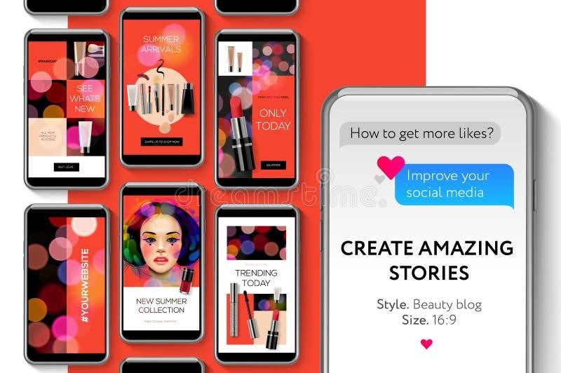 Las medias plantillas sociales, historias del blog de la belleza lían para las marcas y el blogger, bandera moderna del web de la libre illustration