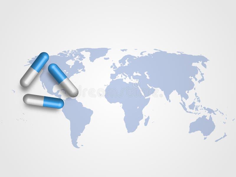 Las medicinas en mapa del mundo como fondo representan concepto médico y de la atención sanitaria Fondo de la tecnología Ilustrac libre illustration