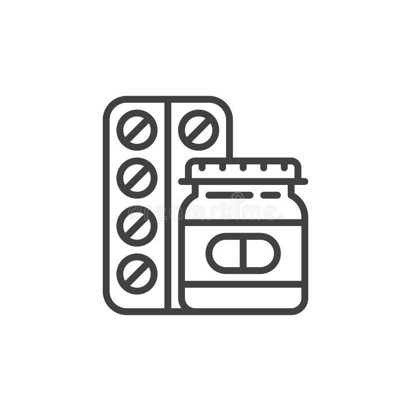 Las medicinas, píldoras alinean el icono, muestra del vector del esquema, pictograma linear del estilo aislado en blanco stock de ilustración