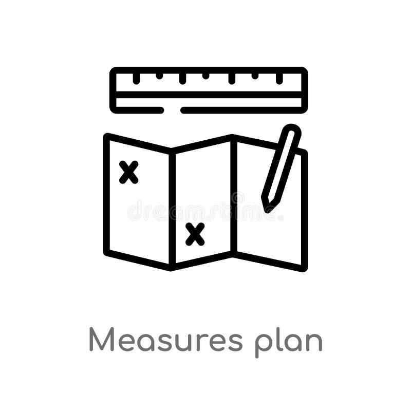 las medidas del esquema planean el icono del vector línea simple negra aislada ejemplo del elemento del concepto de la construcci ilustración del vector