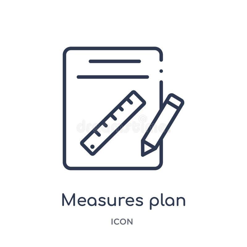 Las medidas lineares planean el icono de la colección del esquema de la construcción La línea fina mide vector del plan aislada e ilustración del vector