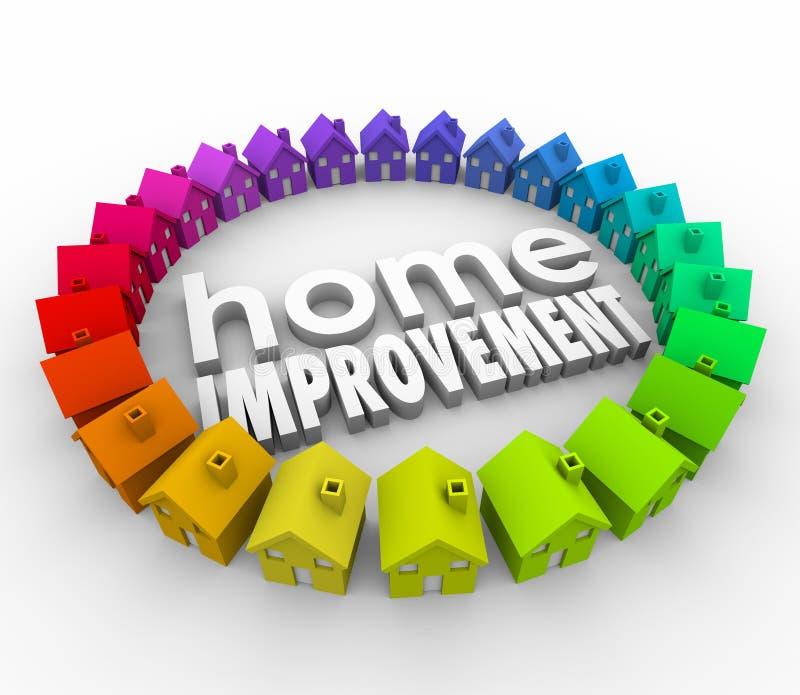 Las mejoras para el hogar 3d contienen la renovación del proyecto de edificio de las palabras stock de ilustración