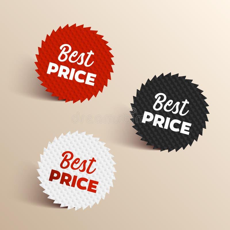Las mejores banderas del color del precio El negro, rojo y el blanco colorearon los mejores iconos del precio ilustración del vector