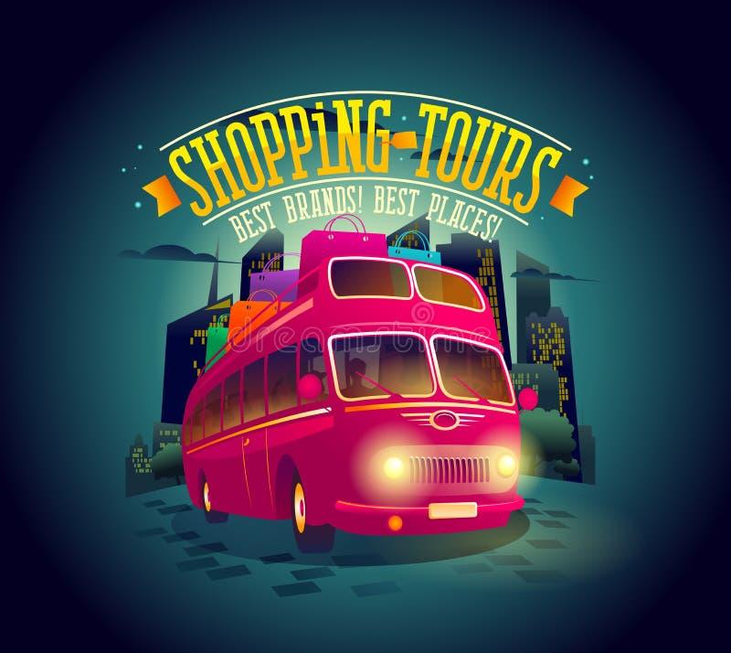 Las mejores compras viajan al cartel con el autobús de dos plantas del montar a caballo contra fondo de la ciudad de la noche ilustración del vector