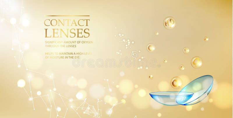 Las mejores lentes de contacto azules para su brezo del ojo El ejemplo médico con descenso de la vitamina sobre fondo de oro de l stock de ilustración