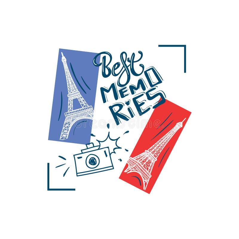 Las mejores memorias impresión del lema de la tipografía con la cámara de la torre Eiffel y de la foto stock de ilustración
