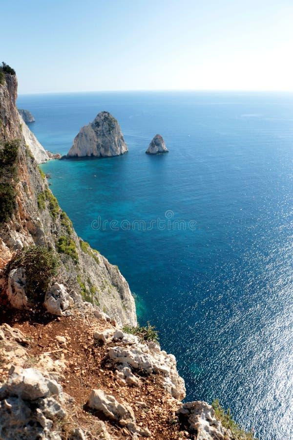 Las mejores vistas de la isla grande y pequeña de Mizithra de Zakynthos, Grecia imagen de archivo