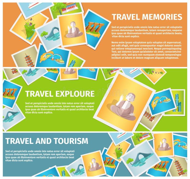 Las memorias y el turismo del viaje exploran banderas del web ilustración del vector