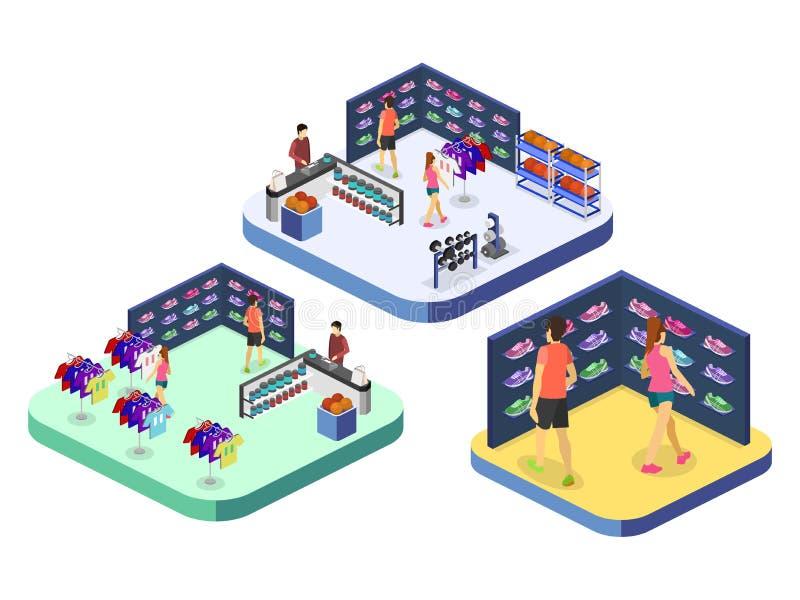 Las mercancías interiores del vector plano isométrico 3D para los deportes hacen compras ilustración del vector