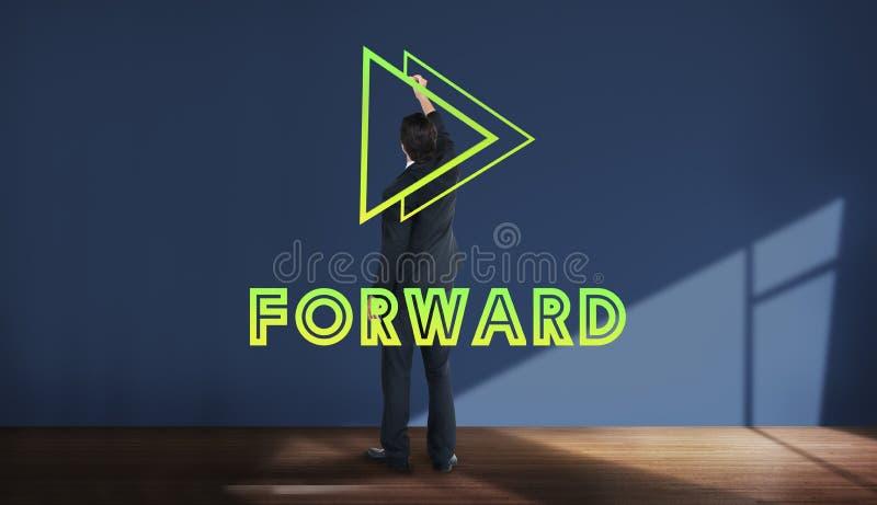 Las metas apuntan concepto delantero de la misión del éxito de la positividad fotos de archivo