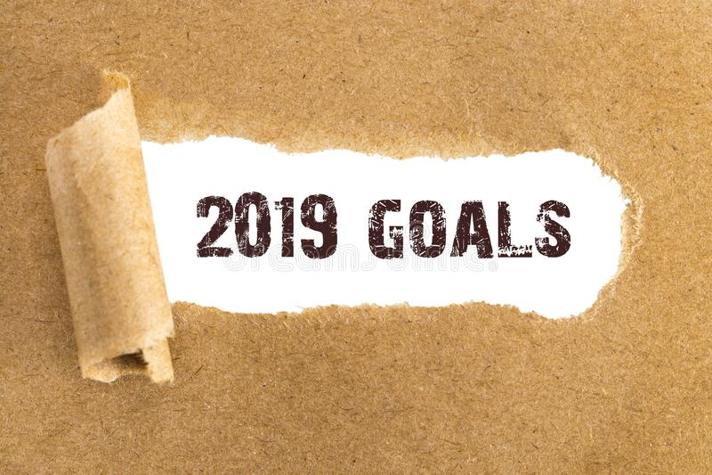 Las metas del texto 2019 que aparecen detrás del papel marrón rasgado fotografía de archivo libre de regalías