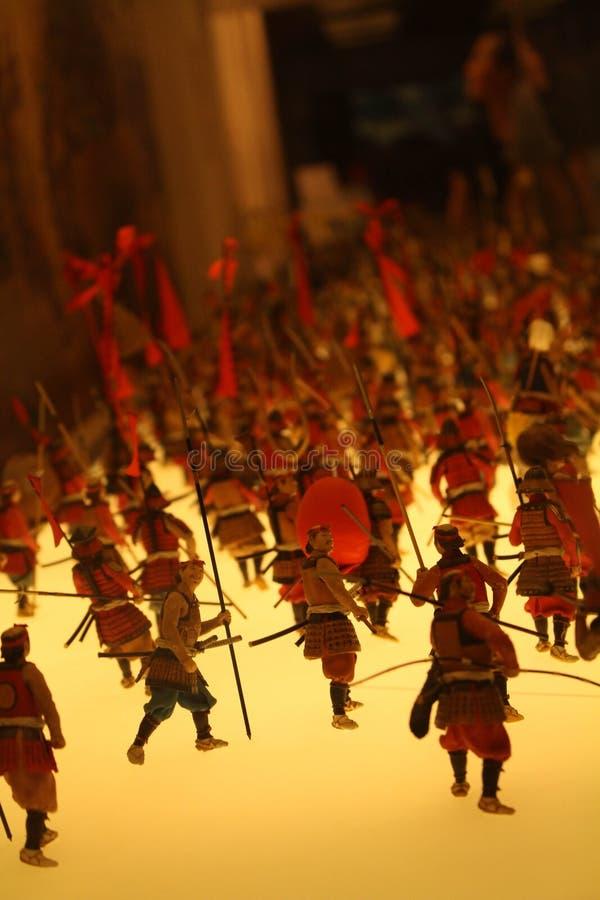 Las miniaturas en Osaka Castle Representa la guerra sucedió hund fotografía de archivo