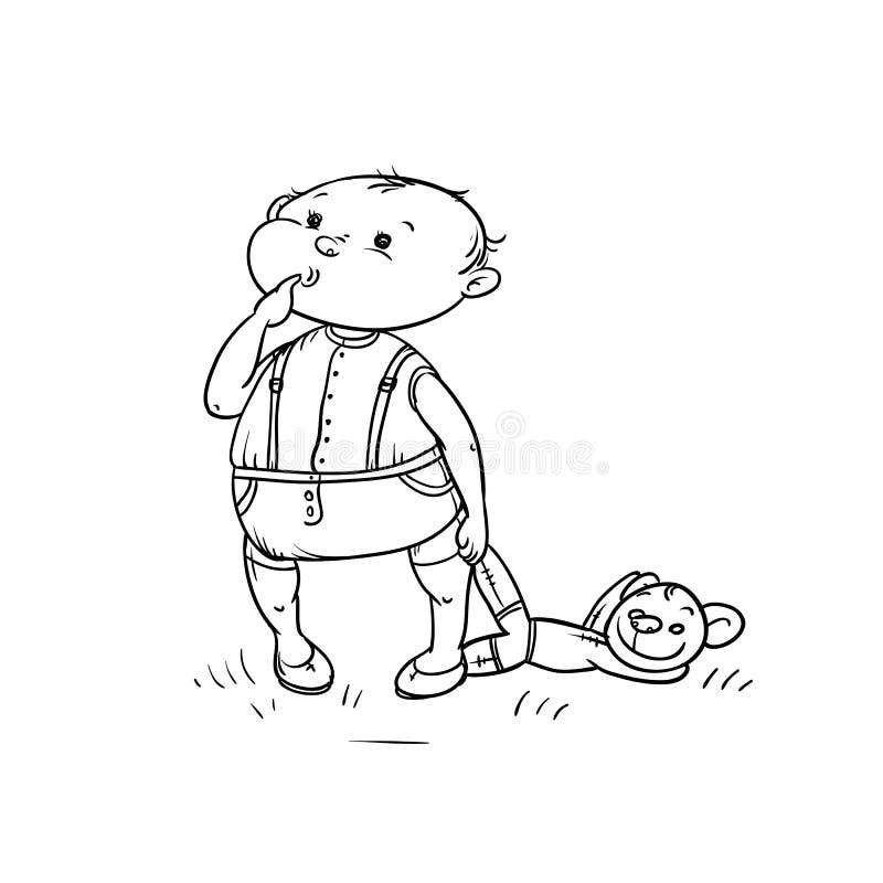 Las miradas del niño pequeño del bosquejo del vector con curiosidad y el finger pegado en boca celebran el oso de peluche en su m stock de ilustración