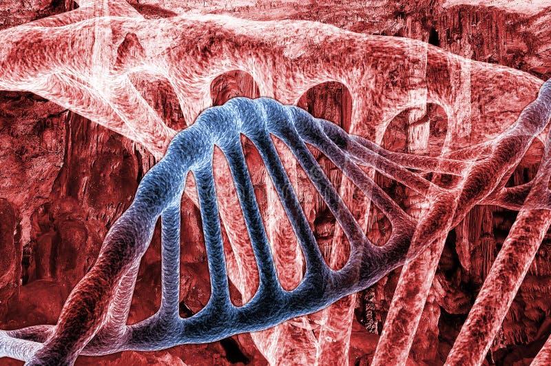 Las moléculas de la DNA del doble hélice en el espacio rojo, 3d rinden stock de ilustración
