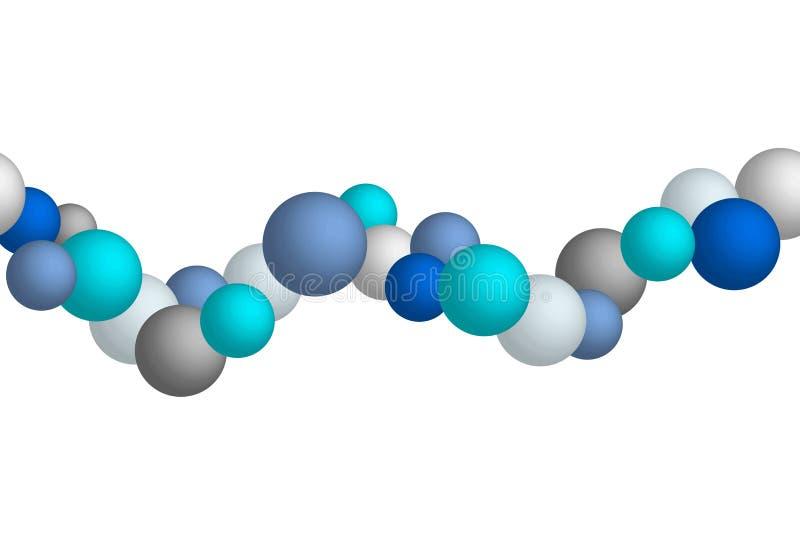 Las moléculas inconsútiles del vector alinean, gris y el color azul, elemento del diseño aisló ilustración del vector