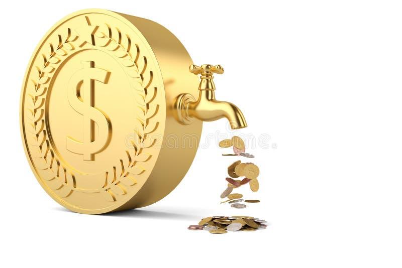 Las monedas caen del golpecito y de la moneda grande aislados en el backgroun blanco stock de ilustración