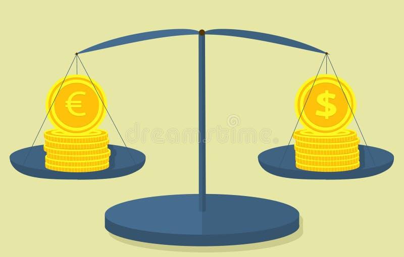 Las monedas dólar y euro en las escalas, 6 monedas en una pila, y el séptimo cuestan un borde stock de ilustración