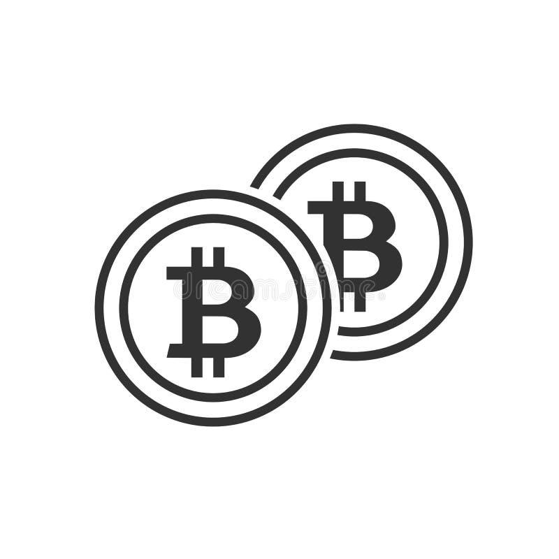 Las monedas de Bitcoin resumen el icono plano en blanco ilustración del vector