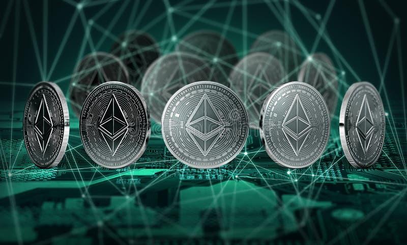 Las monedas de Ethereum conectaron con los nodos del blockchain que se colocaban en la placa madre Concepto de Ethereum y de Bloc stock de ilustración