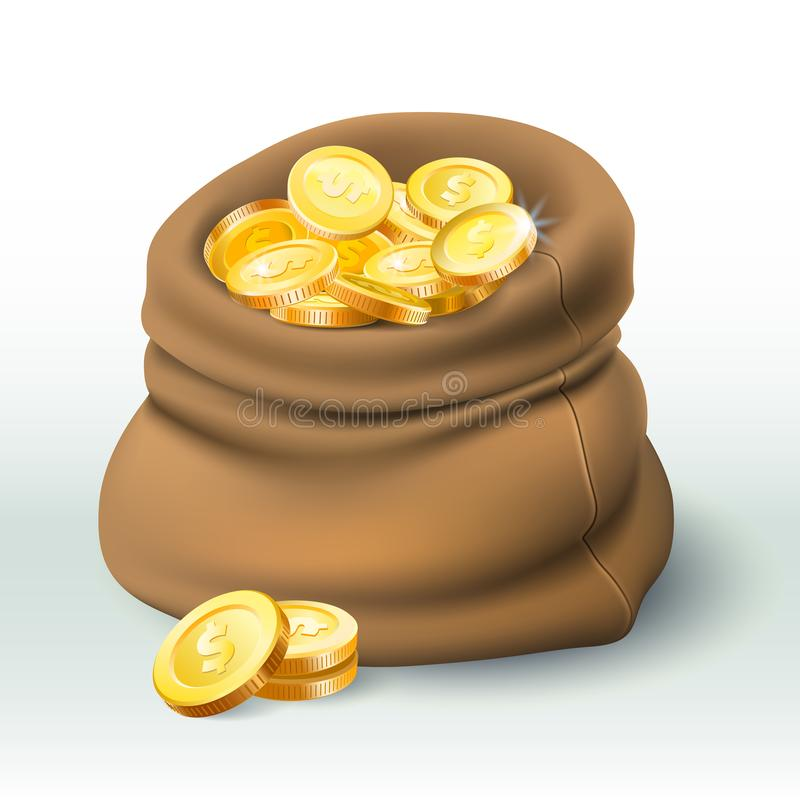 Las monedas de oro empaquetan Riqueza de oro de la moneda, saco grande del efectivo y ejemplo realista del vector de la prima 3D  stock de ilustración