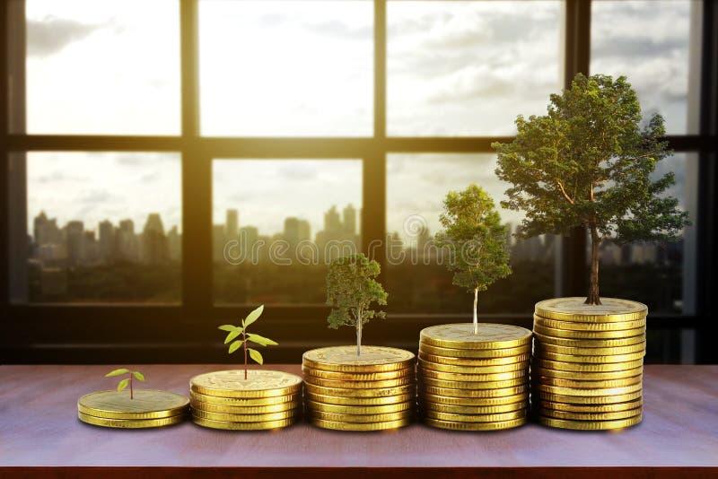 Las monedas de oro llenan la pila y el dinero creciente y crecen los árboles que crecen en fondo de la ciudad, dinero de ahorro y imagen de archivo