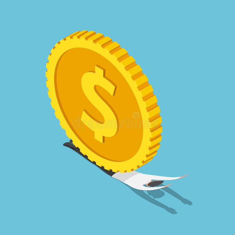 Las monedas enormes del dólar ha machacado al hombre de negocios isométrico stock de ilustración
