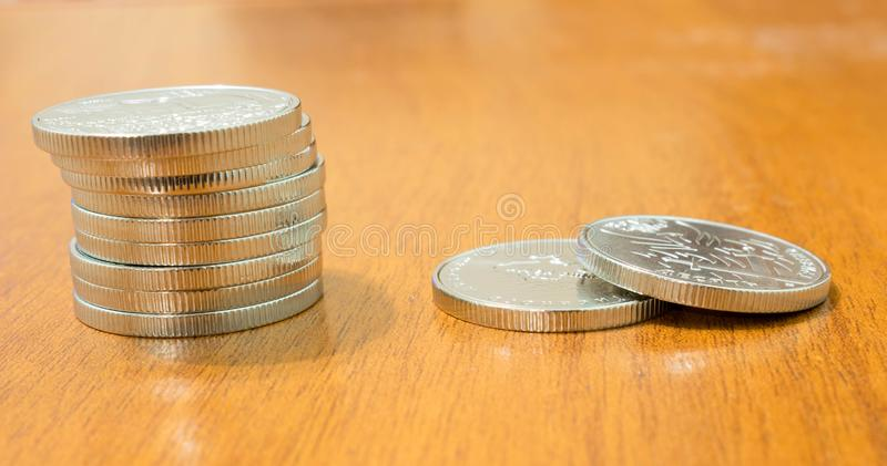 Las monedas ucranianas 10 del jubileo hryven fotografía de archivo