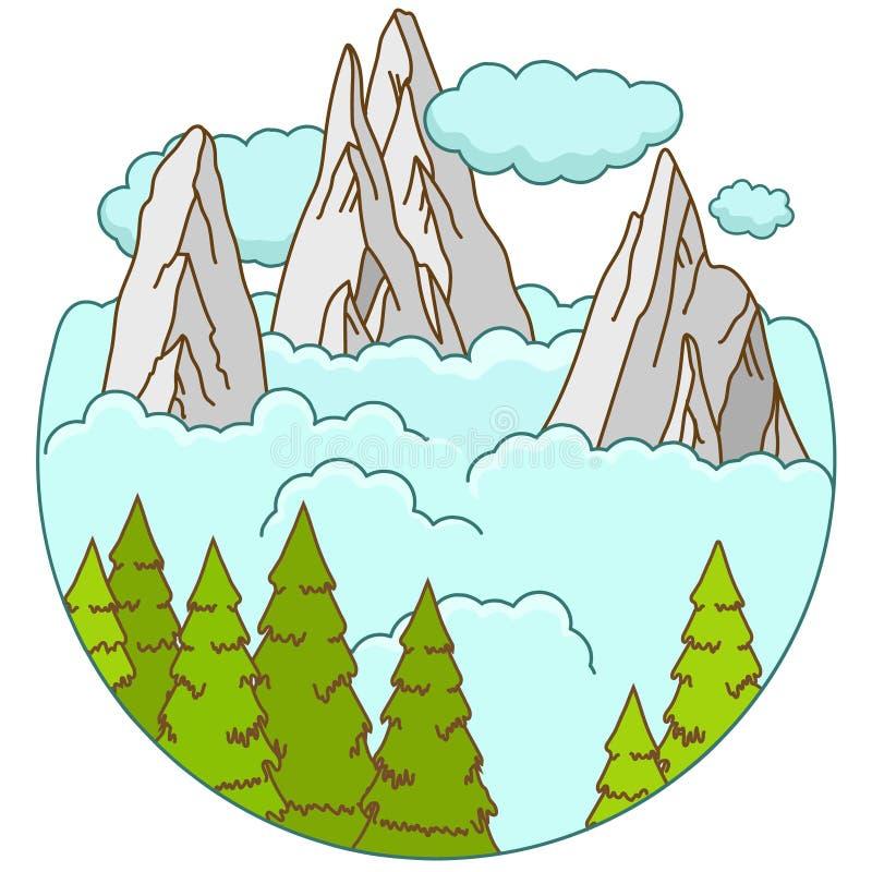 Las montañas ajardinan en las nubes en forma del ciclo libre illustration