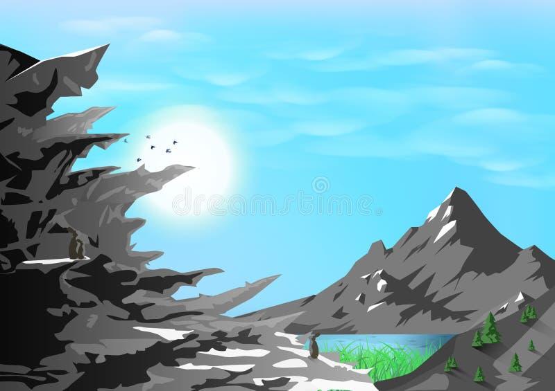 Las montañas ajardinan, silueta rocosa con la naturaleza, los animales y concepto de la fauna, aventura que viaja, extracto del c ilustración del vector