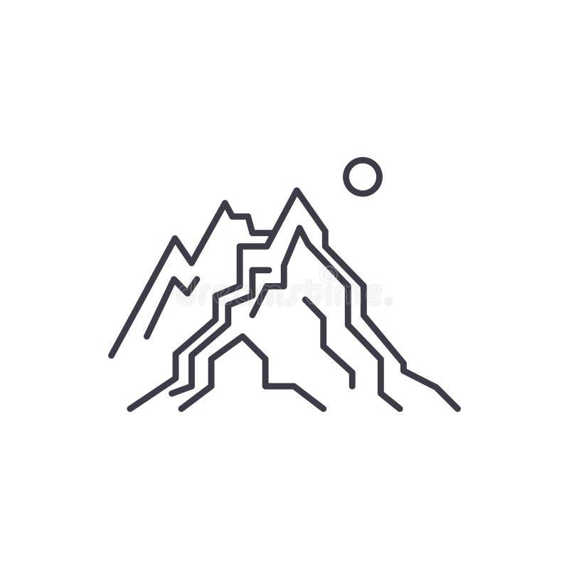 Las montañas alinean concepto del icono El ejemplo linear del vector de las montañas, símbolo, muestra stock de ilustración
