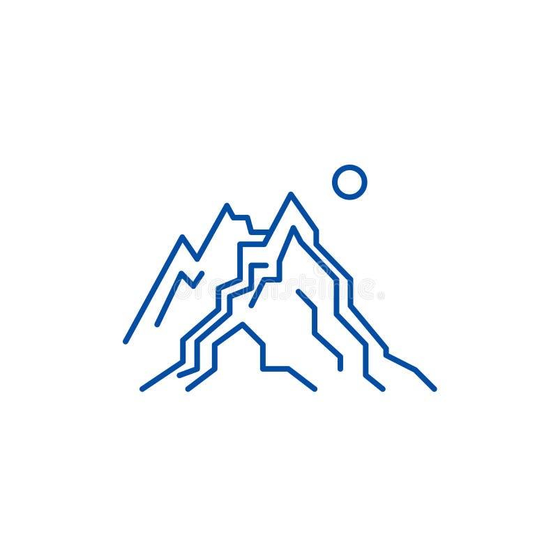 Las montañas alinean concepto del icono El símbolo plano del vector de las montañas, muestra, ejemplo del esquema ilustración del vector