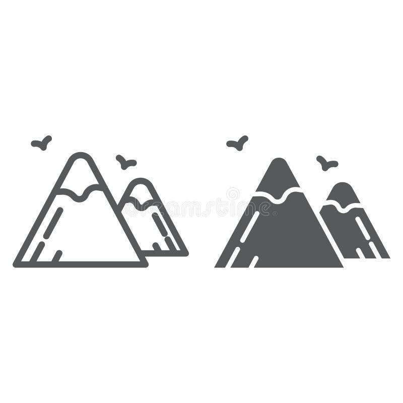 Las montañas alinean y el icono del glyph, la naturaleza y el paisaje, muestra de la roca, gráficos de vector, un modelo linear e libre illustration