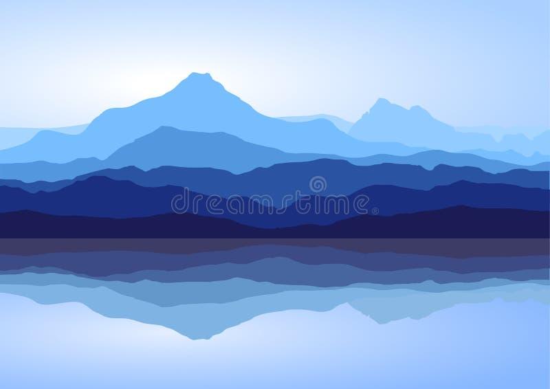Las montañas azules acercan al lago ilustración del vector