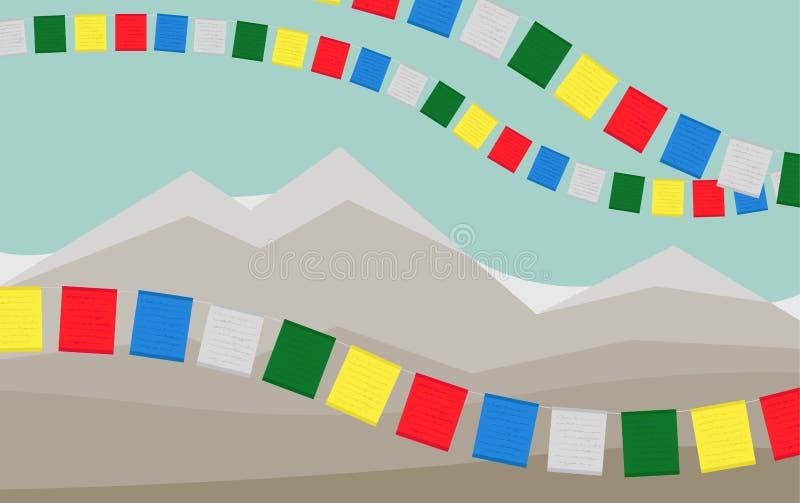 Las montañas con las banderas tibetanas coloridas del rezo stock de ilustración