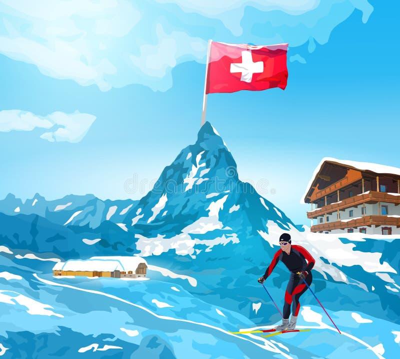 Las montañas dan la bienvenida a la tarjeta ilustración del vector