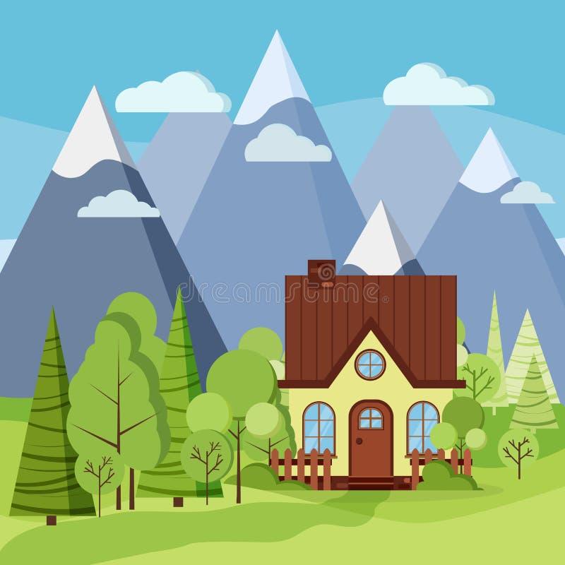 Las montañas de la primavera o del verano ajardinan con la casa rural de la granja, cercas, chimenea stock de ilustración