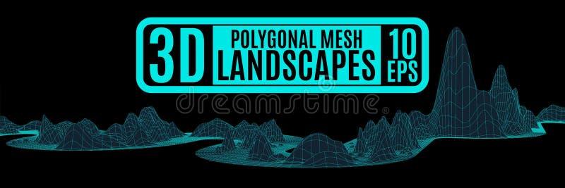 Las montañas de neón modelaron paisaje poligonal stock de ilustración