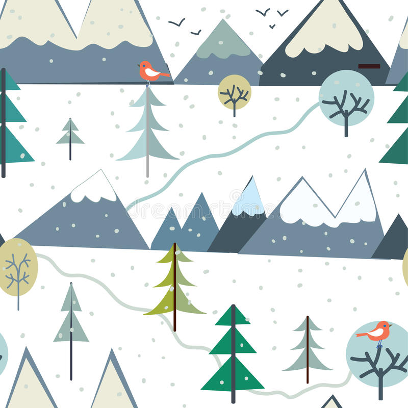 Las montañas en el invierno sazonan el modelo inconsútil - diseño divertido ilustración del vector