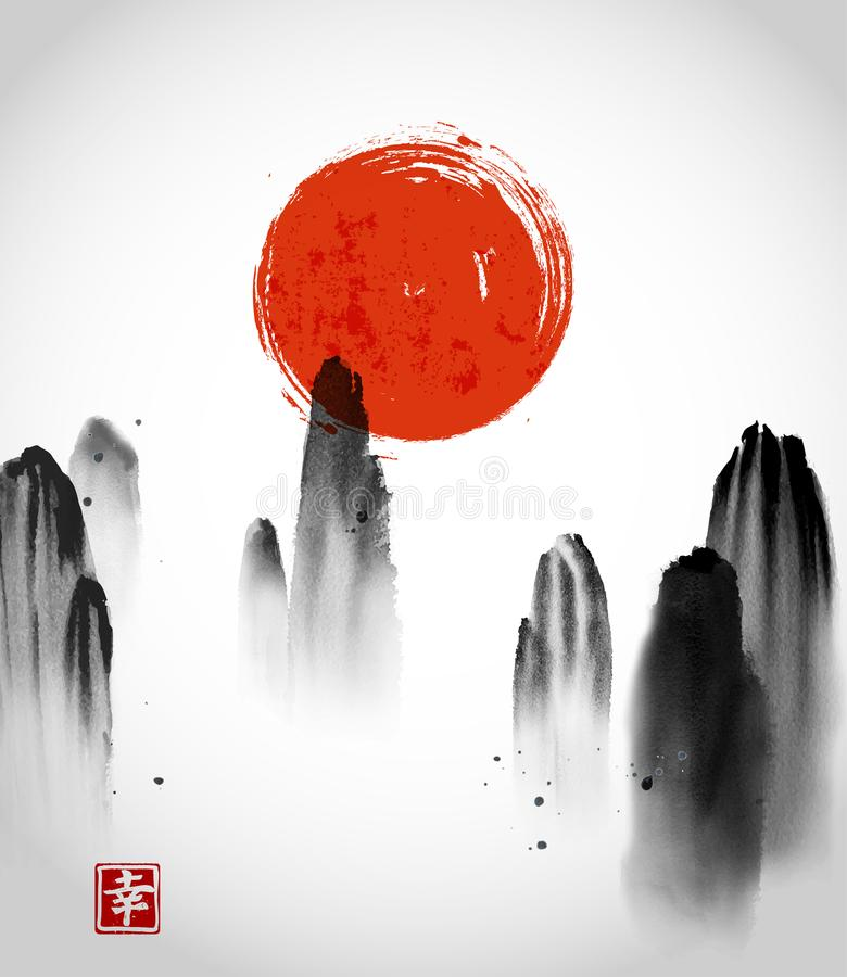 Las montañas en niebla y sol rojo dan exhausto con tinta en el fondo blanco Rocas flotantes Pintura oriental tradicional de la ti stock de ilustración