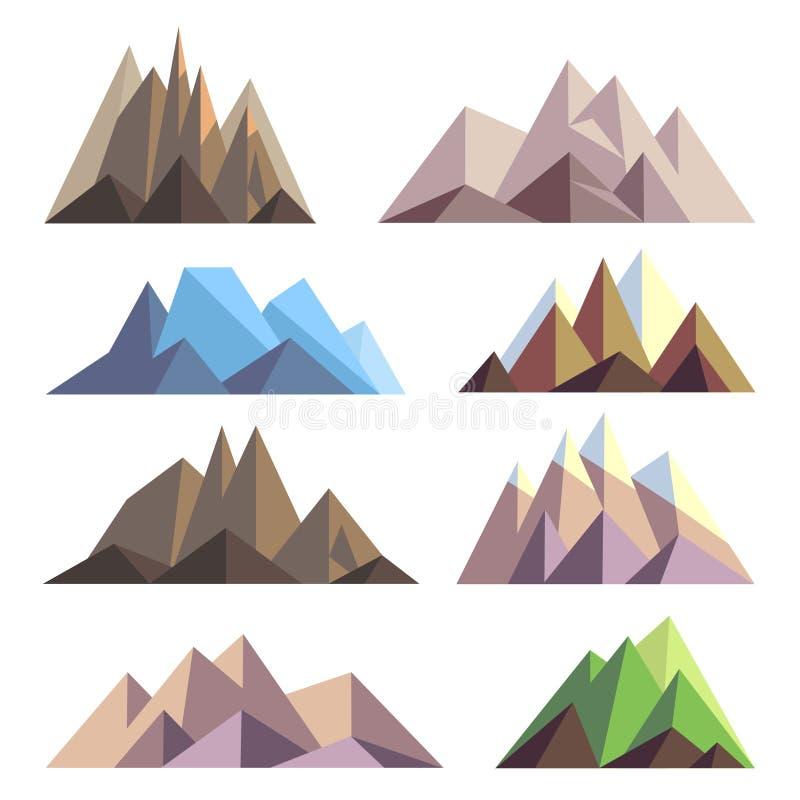 Las montañas en papiroflexia del polígono diseñan los elementos del vector para el paisaje ilustración del vector
