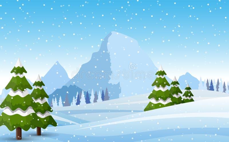 Las montañas nevosas del invierno ajardinan libre illustration