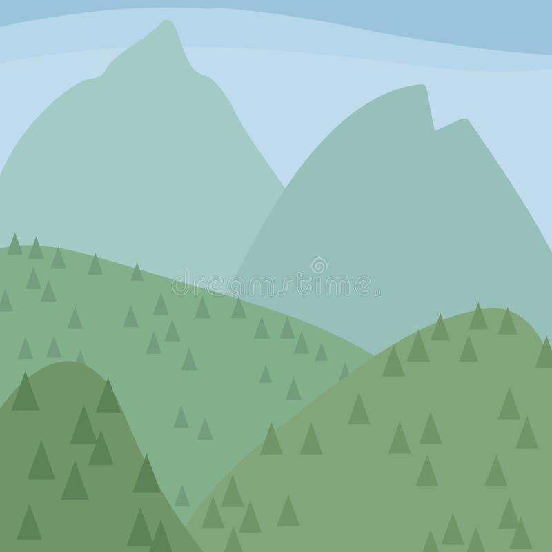 Las montañas y las colinas azules claras verdes con los árboles coníferos ajardinan el ejemplo del cielo azul ilustración del vector