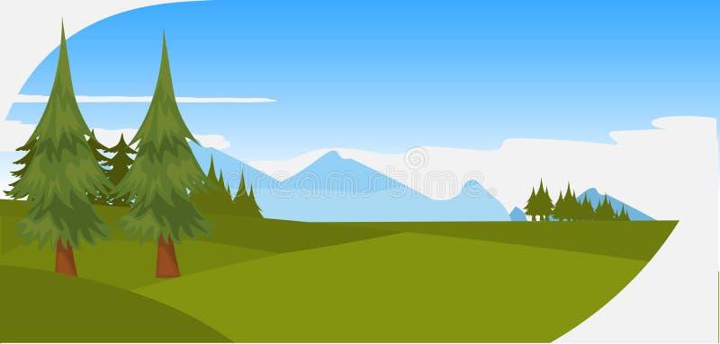 Las montañas y las colinas verdes hermosas del bosque de los árboles de pino ajardinan el plano horizontal del panorama de la esc stock de ilustración